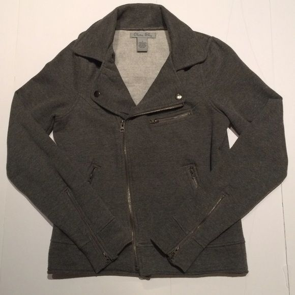 Olivia Sky Moto jacket Grey Olivia Sky Moto jacket. Used but in excellent condition. Cotton/ polyester blend. Very minimal pilling as seen in photo. Can be dressed up or down, paired with jeans or even a casual dress. Jackets & Coats