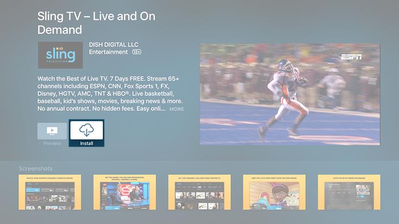 How do I install Sling TV on my Apple TV? Sling tv