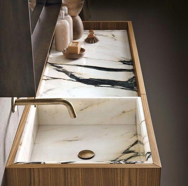 obsessed with dark veins, marble sink with wood border, modern twist