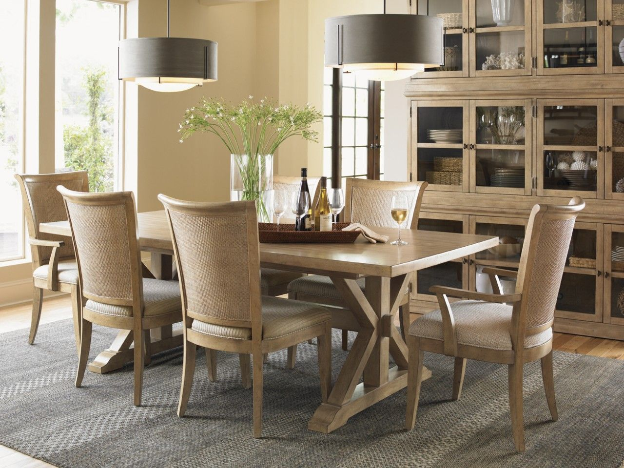 Lexington Monterey Sands 7 Pc Walnut Creek Dining Table And Los Altos Chairs  Set In