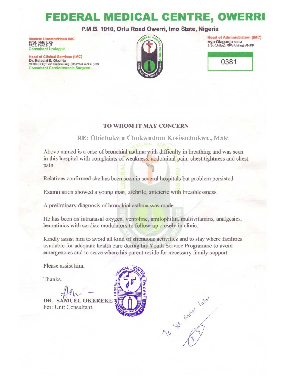 Nysc Relocation Medical Certificate Sample Nibbleng with