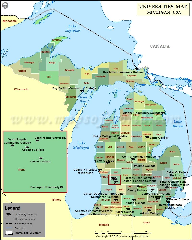 Map of Colleges and Universities in Michigan, USA | Colleges and ...
