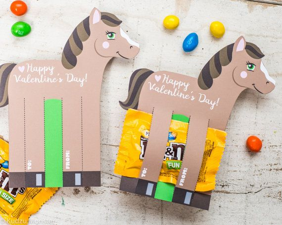 Horse Valentines Printable DIY Instant Download por KudzuMonster