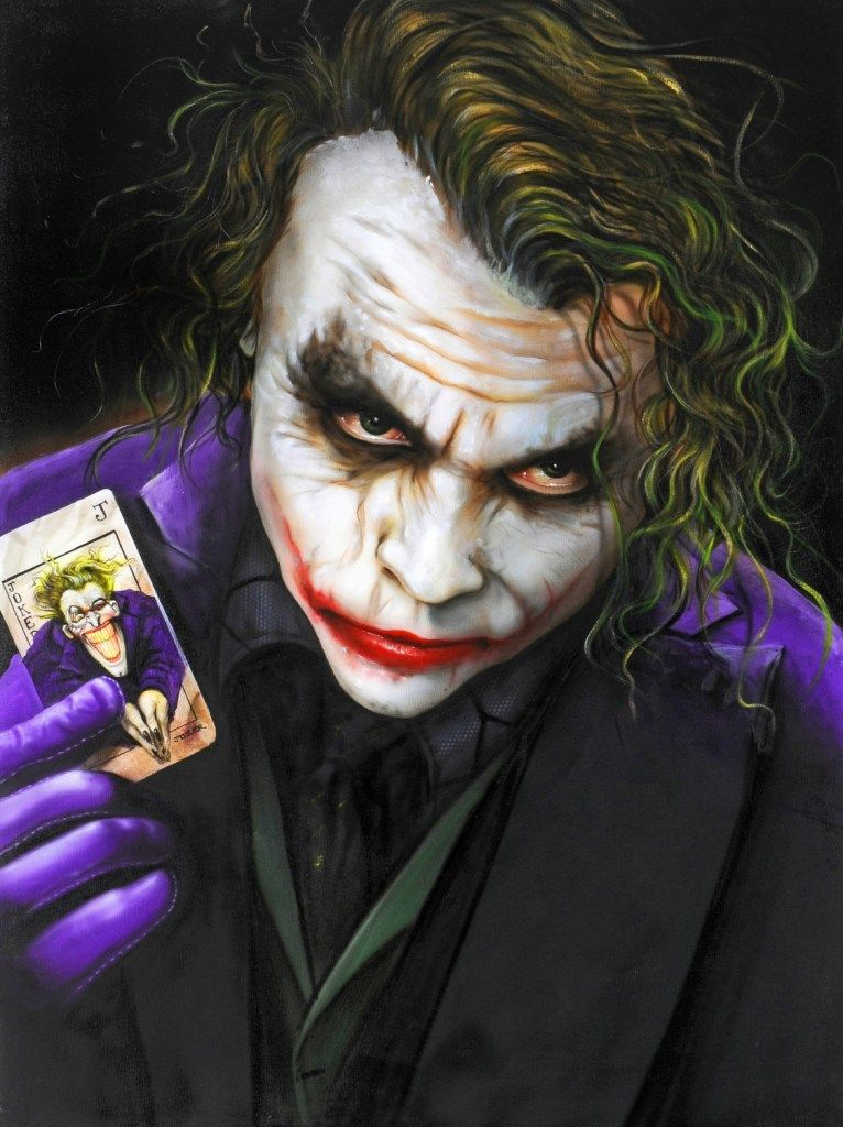 Airbrush Joker Wallpaper: Airbrushed Painting Onto Canvas Of