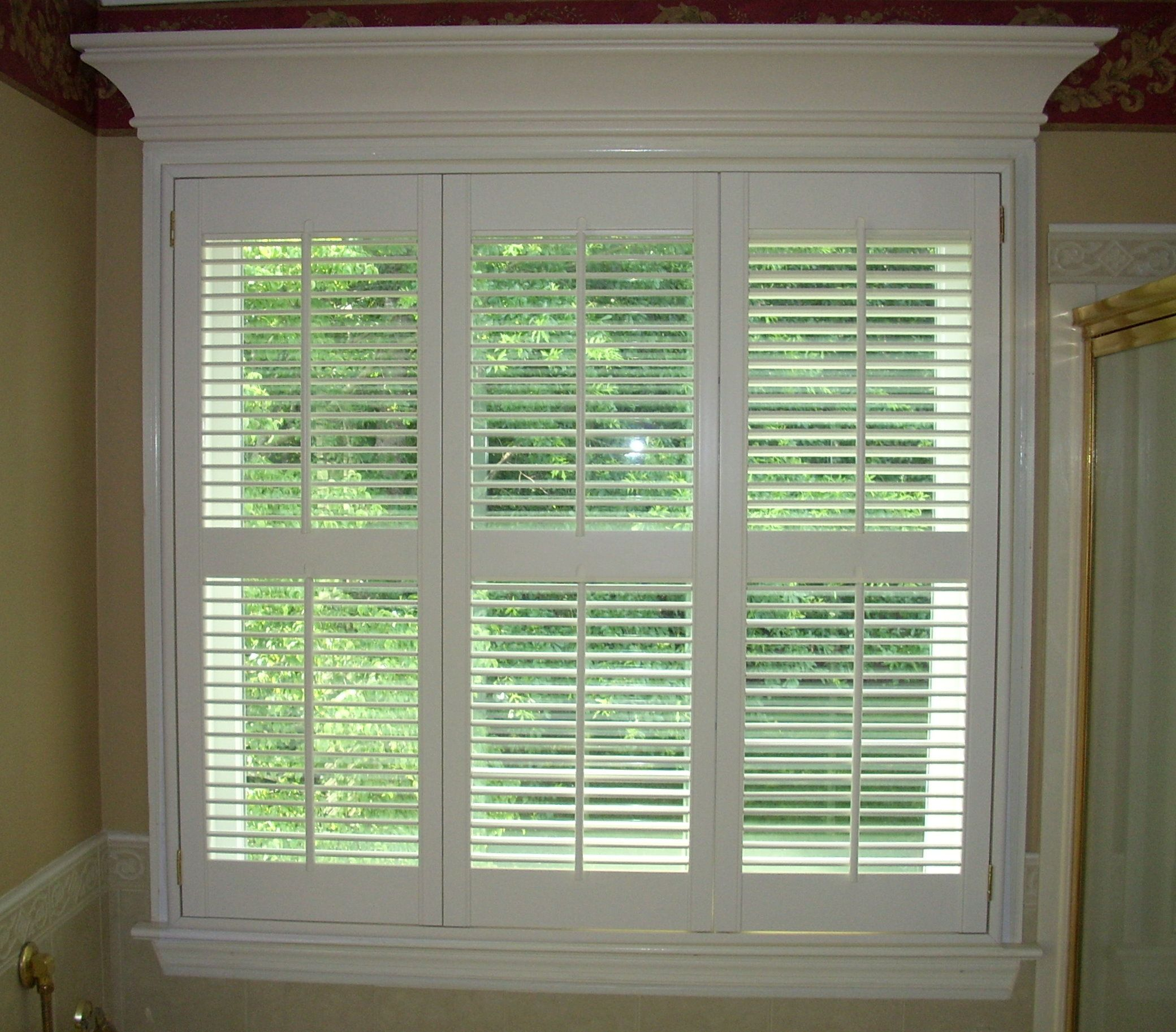 Plantation window traditional shutters panels with pediment home