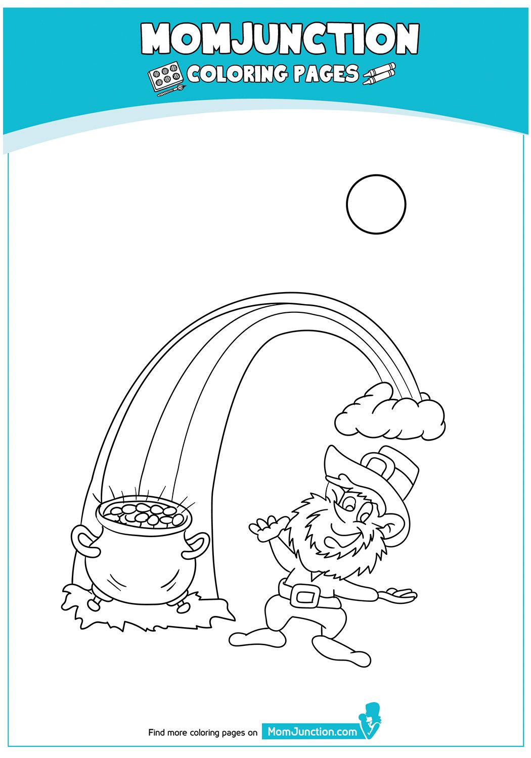 The Leprechaun With Shamrock Coloring Page Coloring Pages Mom Junction Color