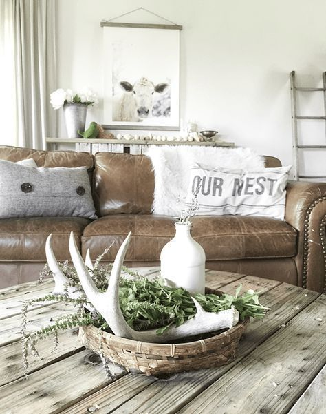 A Farmhouse Summer Home Tour Part 1 Summer, Modern farmhouse - Brown Couch Living Room