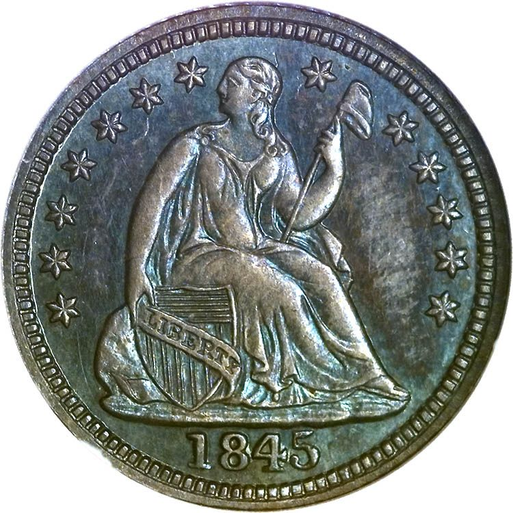 Seated Liberty Half Dimes1845 H10C PF Coin collecting