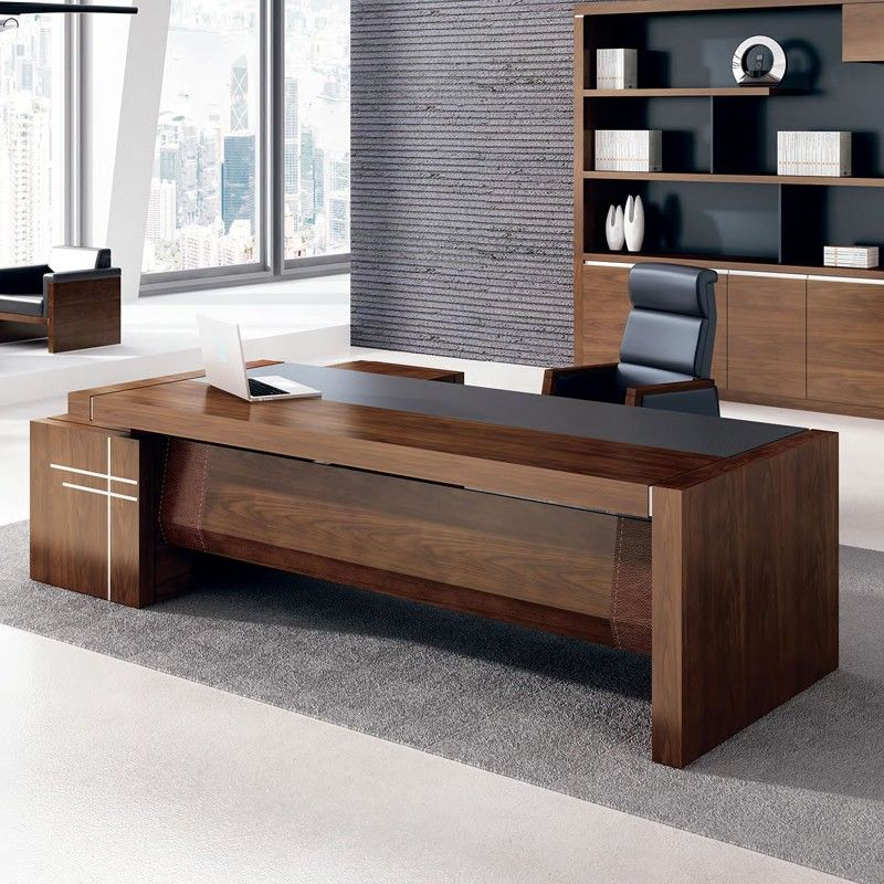 Beautiful High Gloss Ceo Office Furniture Luxury Office Table Executive Desk Leather  Top