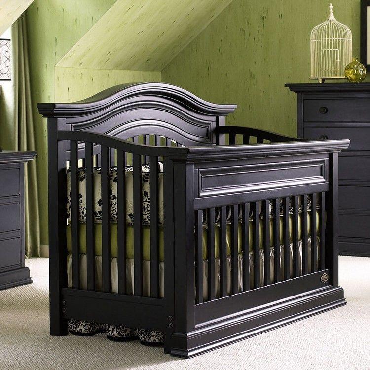 Bonavita Sheffield 2 Piece Nursery Set In Distressed Black   Crib And 5  Drawer Dresser