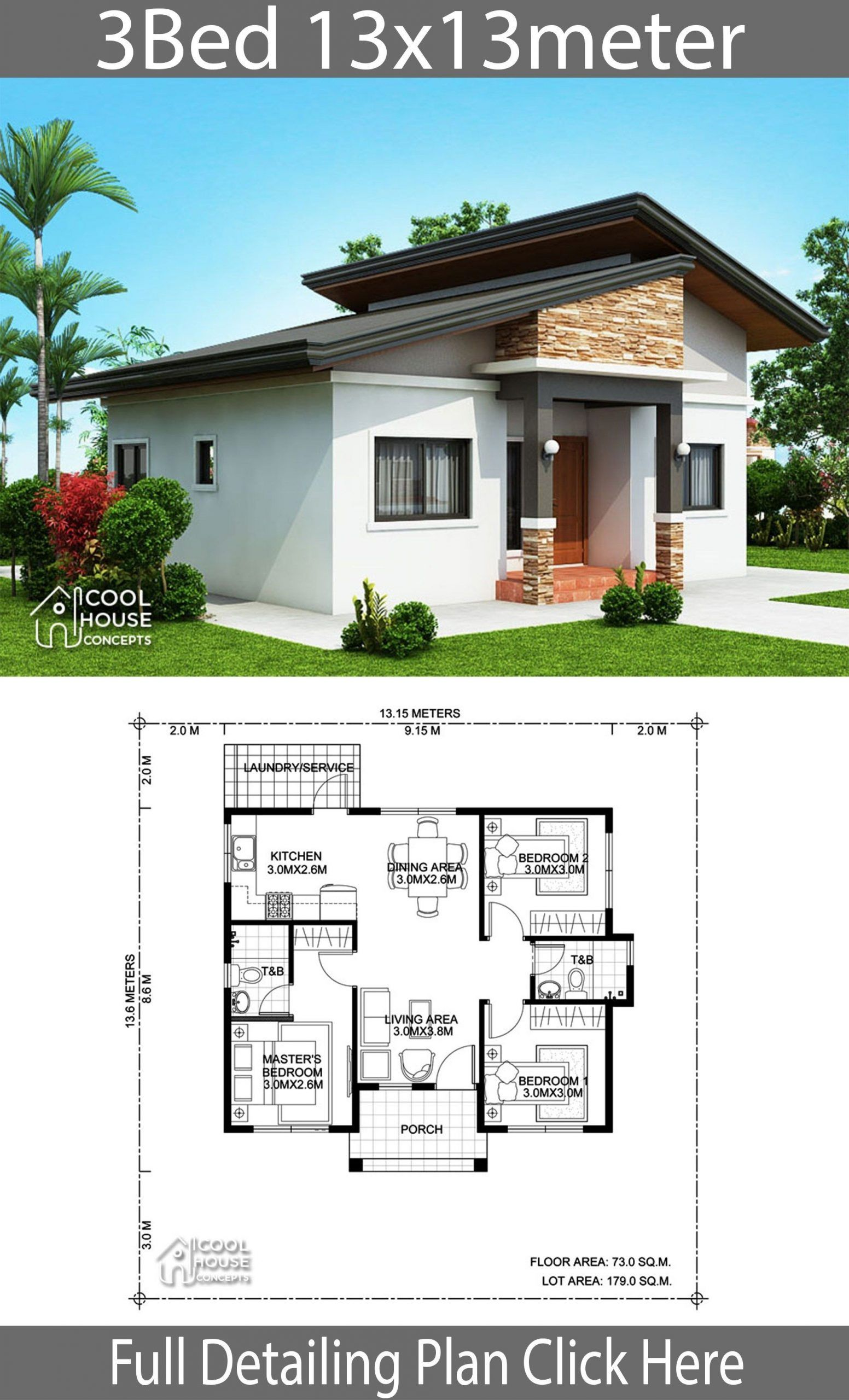 Home Design Plan 13x13m With 3 Bedrooms Home Ideas 13x13m Bedrooms Design Home Ideas Plan In 2020 Simple House Design Cool House Designs Bungalow House Design