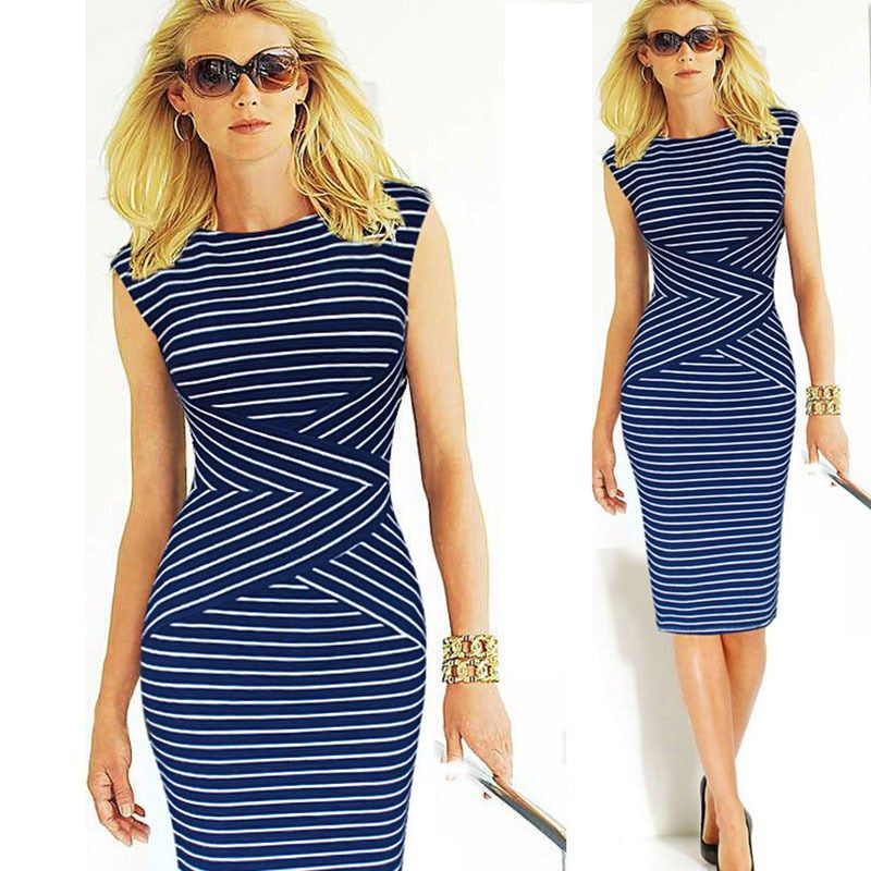 Summer Dress Ladies Dresses Mujer Slimming Striped Dress Plus Size Women Clothing Vestido Dresses Summer Style C162