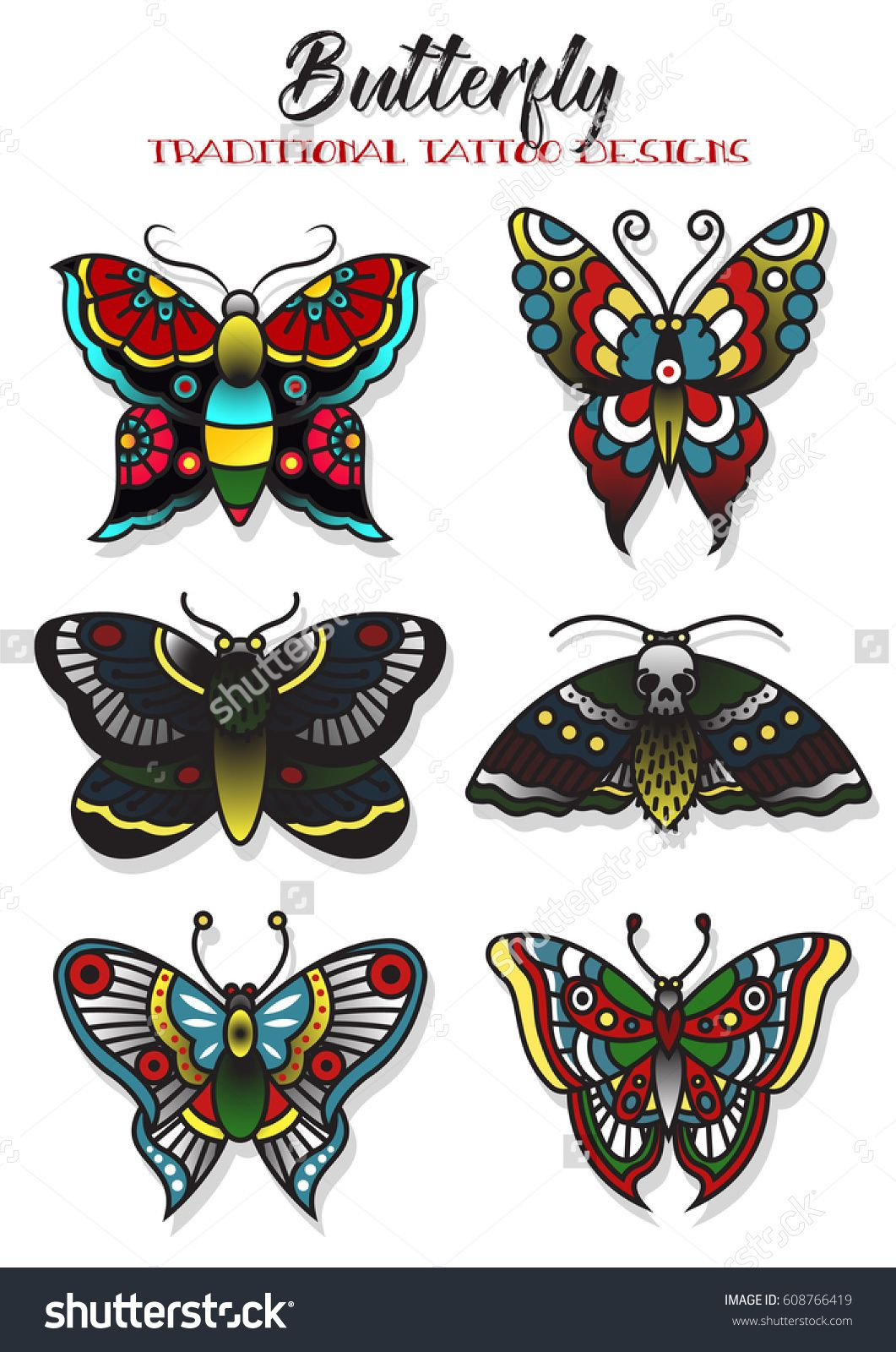 Butterfly and Mole Traditional Tattoo Designs(upper left