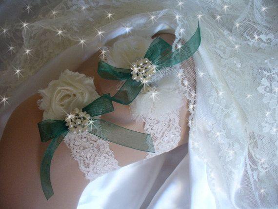Garters, Wedding Garters, Weddings, Bridal Garter, Garders, Lace Garter, Green garter, Rhinestone Garter,  Keepsake Garter,