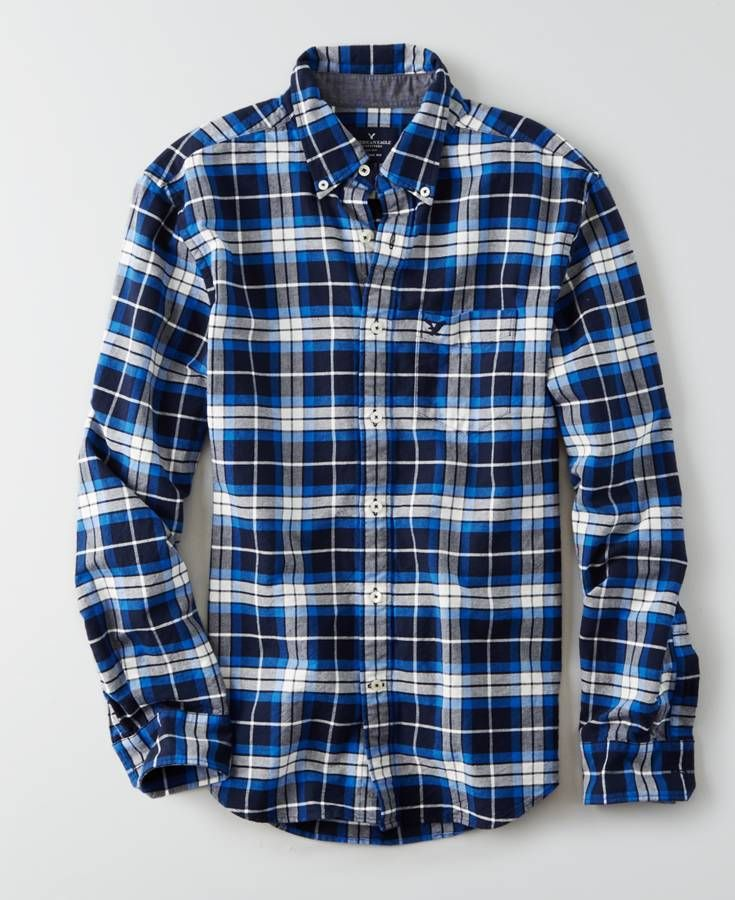 American Eagle Oxford Plaid Button Down Shirt, Men's, Navy Blue ...