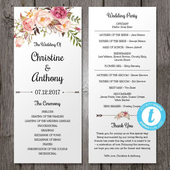 Wedding Program Template, Instant Download, Bohemian Floral
