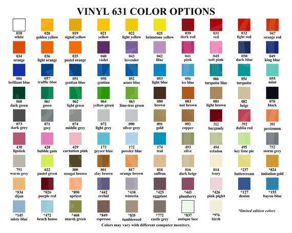 Vinyl Color Options Chart for Store Owners, Color Mockups