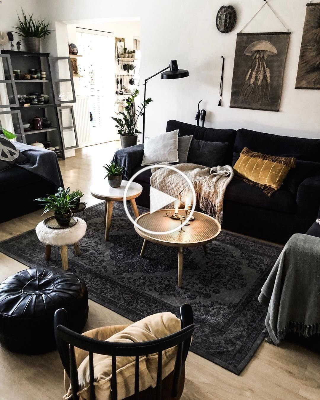 Idee Deco Salon Canape Noir Idees