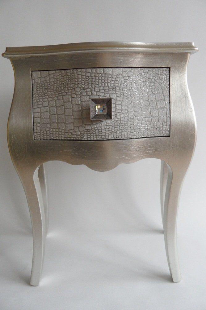 Nachttisch Kommode Blattsilber Kuhfell 50 \/ 32 \/ 60 cm Amazonde - kommode für küche