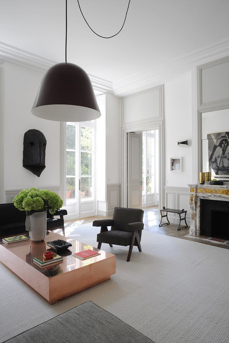 apartment in paris by joseph dirand brass coffee table. Black Bedroom Furniture Sets. Home Design Ideas