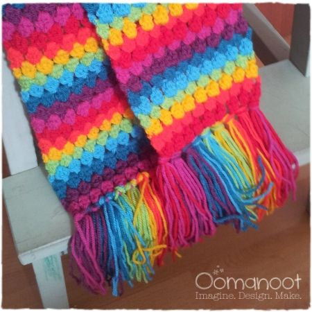 Rainbow Cluster Stitch Scarf Tutorial - Use this stitch for a blan ...