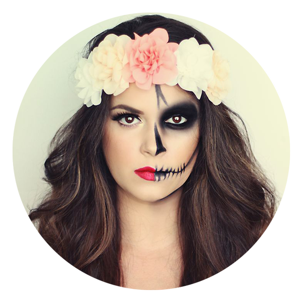 Maquillage halloween moiti belle moiti squelette fleurs cheveux costume d 39 halloween - Coiffure halloween facile ...