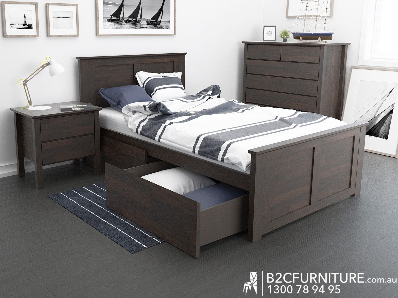 Chocolate brown king single bed with storage modern design