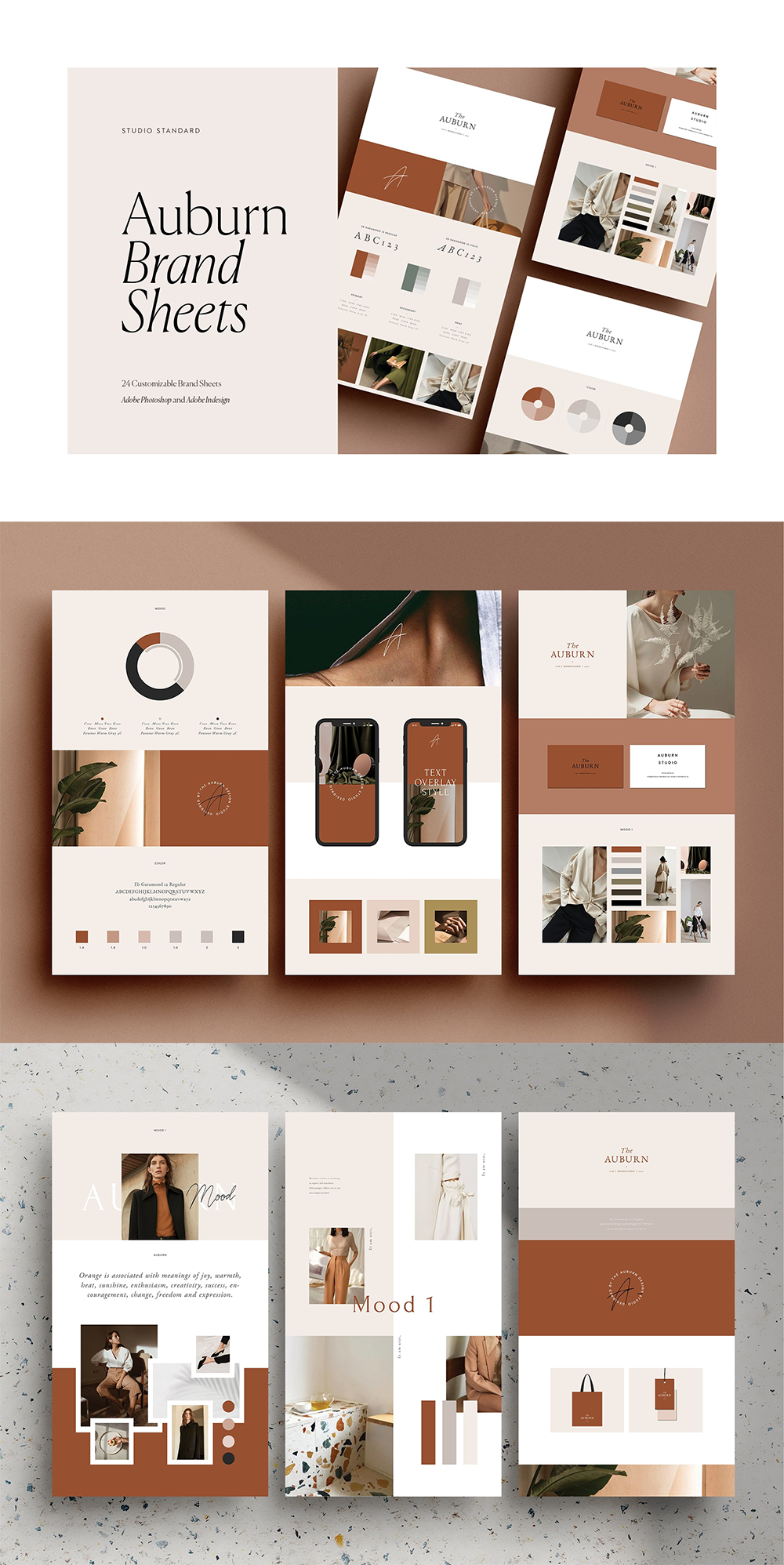 The Auburn Brand Sheets are a series of 24 individually designed branding template sheets designed in both Adobe Photoshopand Adobe IndesignYou can customize everything – including the logo, or drop in your own logo design. You could even customize one of the logos from our Auburn Logo pack and drop that in! #affiliate