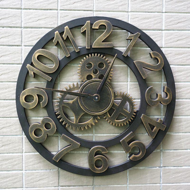 d05b62f4b3e Artesanal de grandes dimensões 3D retro de luxo decorativa art grande  engrenagem grande relógio de parede de madeira do vintage na parede para  presente