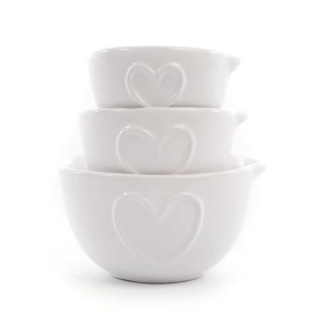 Dunelm White Country Heart Measuring Cups