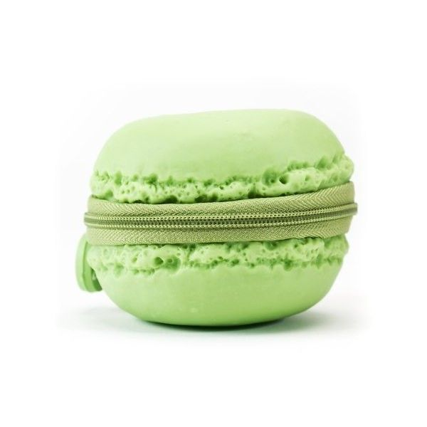 Scented Macaron Coin Purses ($13) ❤ liked on Polyvore featuring bags, wallets, clutches, purses, change purse, coin pouch wallet, green bags, coin pouch and green wallet