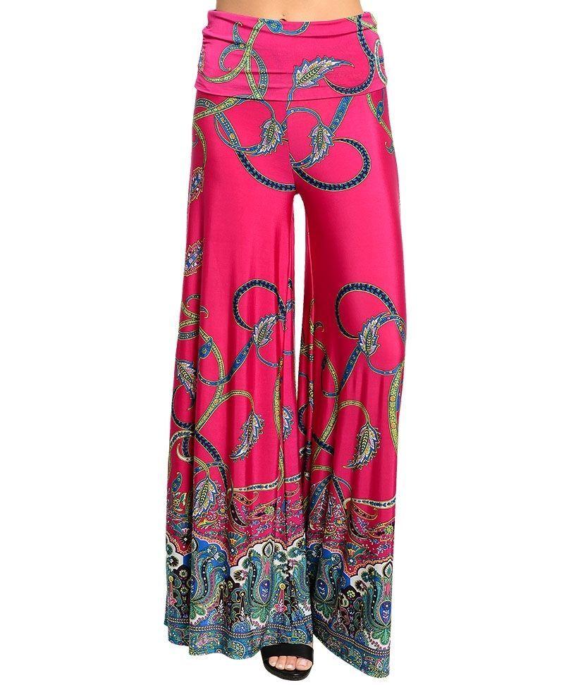 2deef58c6a Palazzo women pants pink border print wide leg high waist fold ...