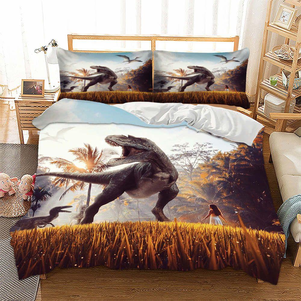 King Size Bedding Set Dinosaur Printed Creative Girl 3d Duvet