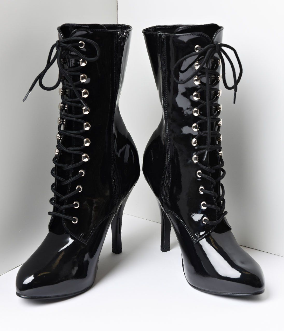 Black Patent Leather Lace Up Stiletto