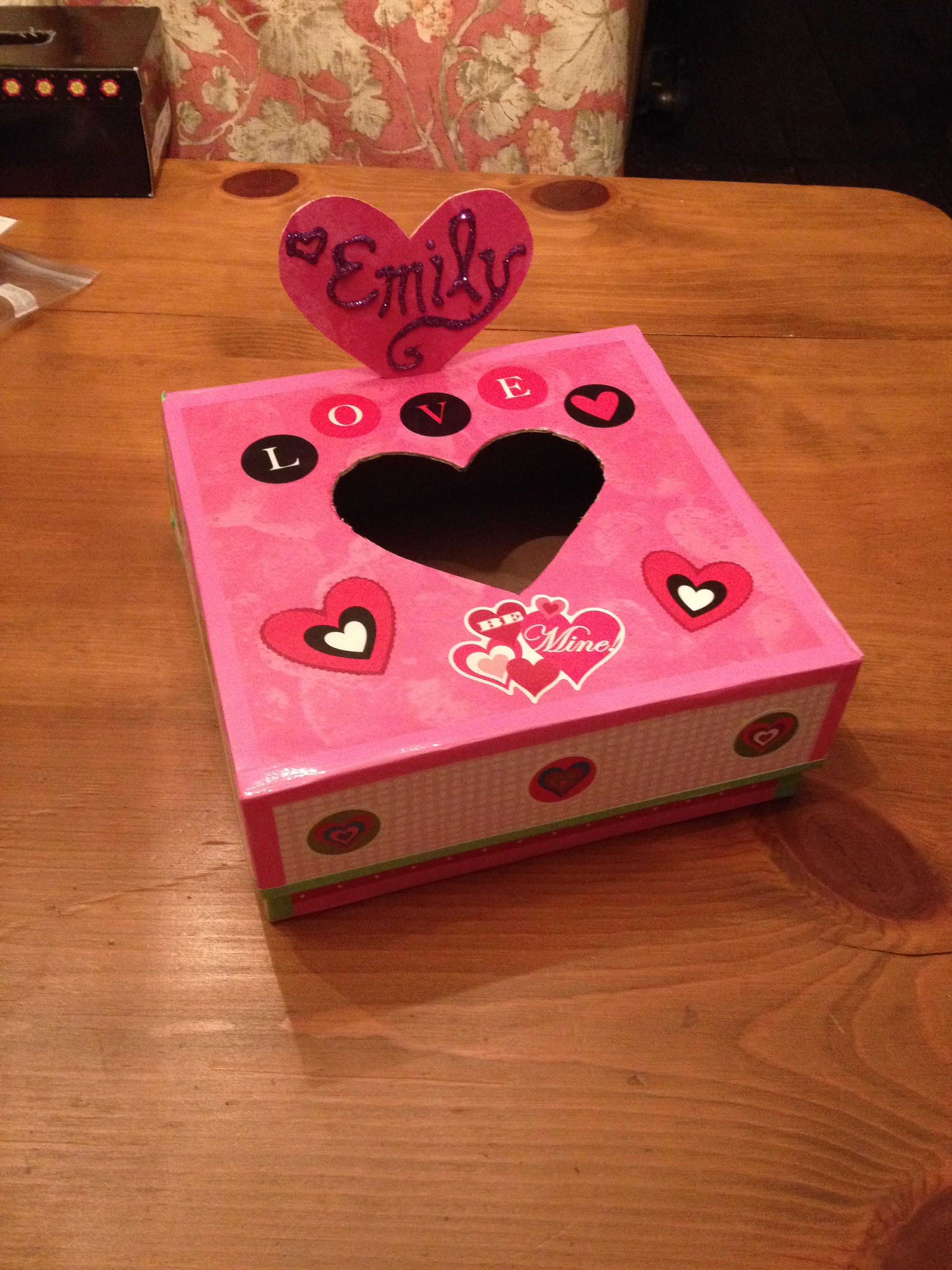 Decorated Shoebox For Valentine S Day At School We Used The Heart Cutout As A Name Tag Valentine Crafts Valentine Box Valentines