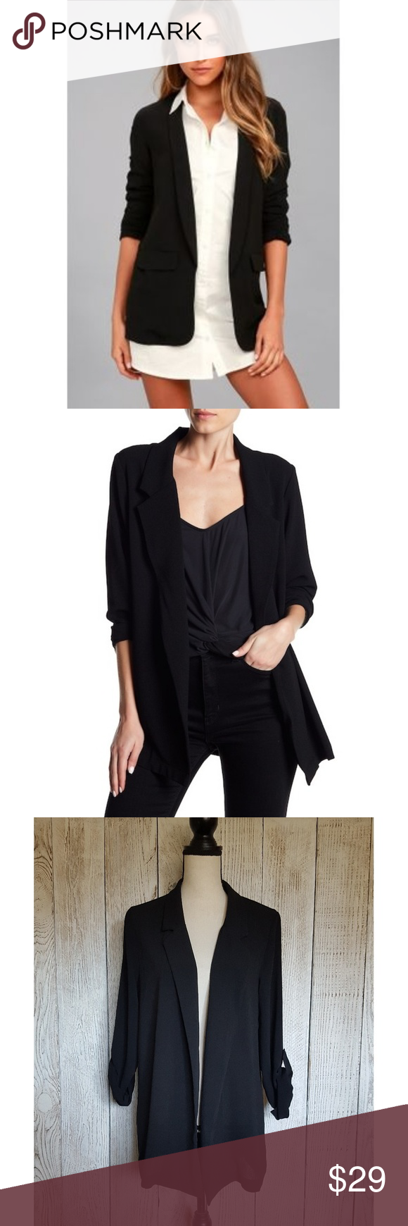 separation shoes 2d779 fde45 Lush Novak Crepe Blazer in Black   Small A simple and classic lightweight crepe  Novak blazer that is a great timeless addition to your wardrobe.