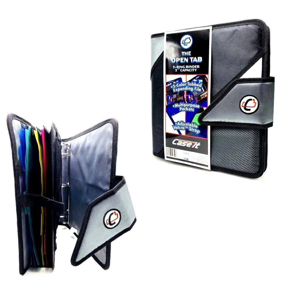Case It 3in Black 3 Ring Binder 6 Section Expanding File School Home