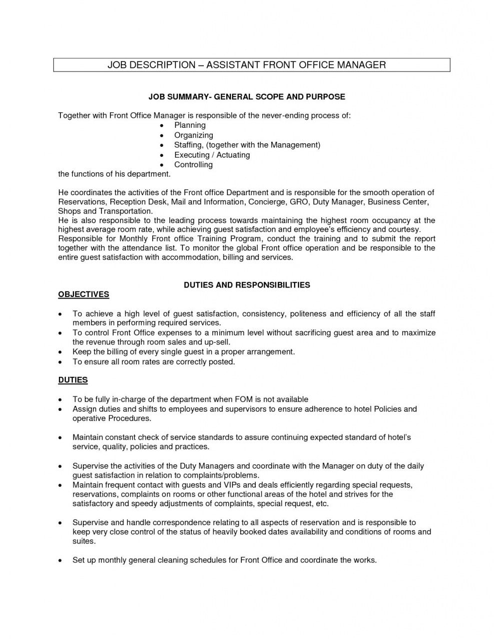 Hotel Front Desk Job Description In 2020 Office Assistant Job Description Office Assistant Jobs Receptionist Jobs