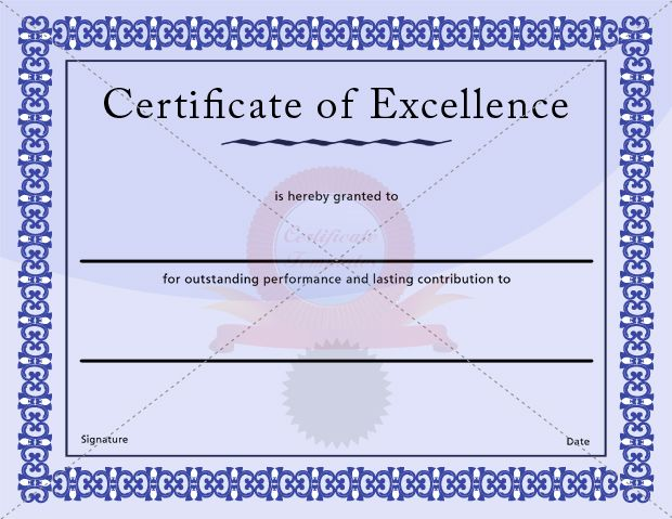 Excellence Certificate Blue Template | CERTIFICATE OF EXCELLENCE TEMPLATES  | Pinterest | Certificate And Template  Certificates Of Excellence Templates