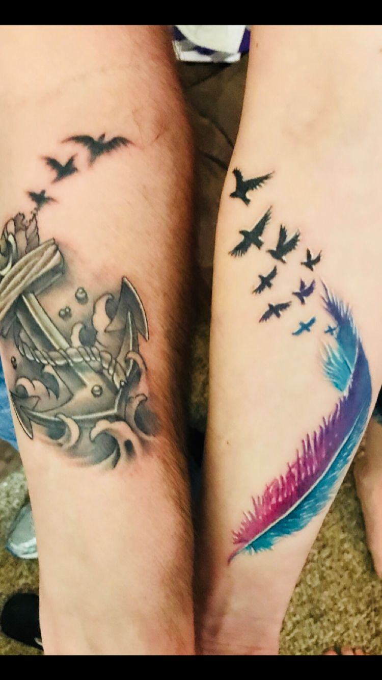 Couples Tattoo I'll be your anchor, and I'll be your wings..  We had this one done off of another photo but our artists made them so much better!