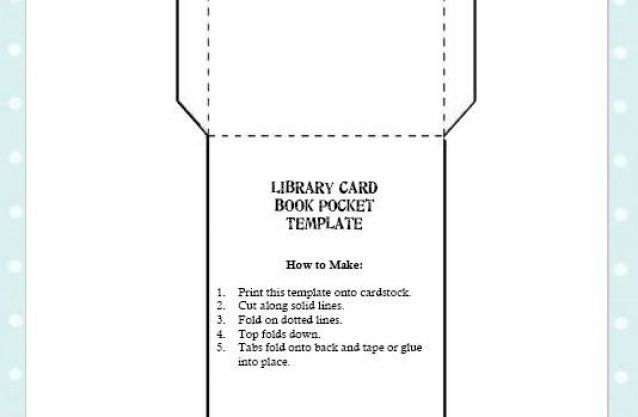 Free Library Card Book Pocket Template Printable  Classroom