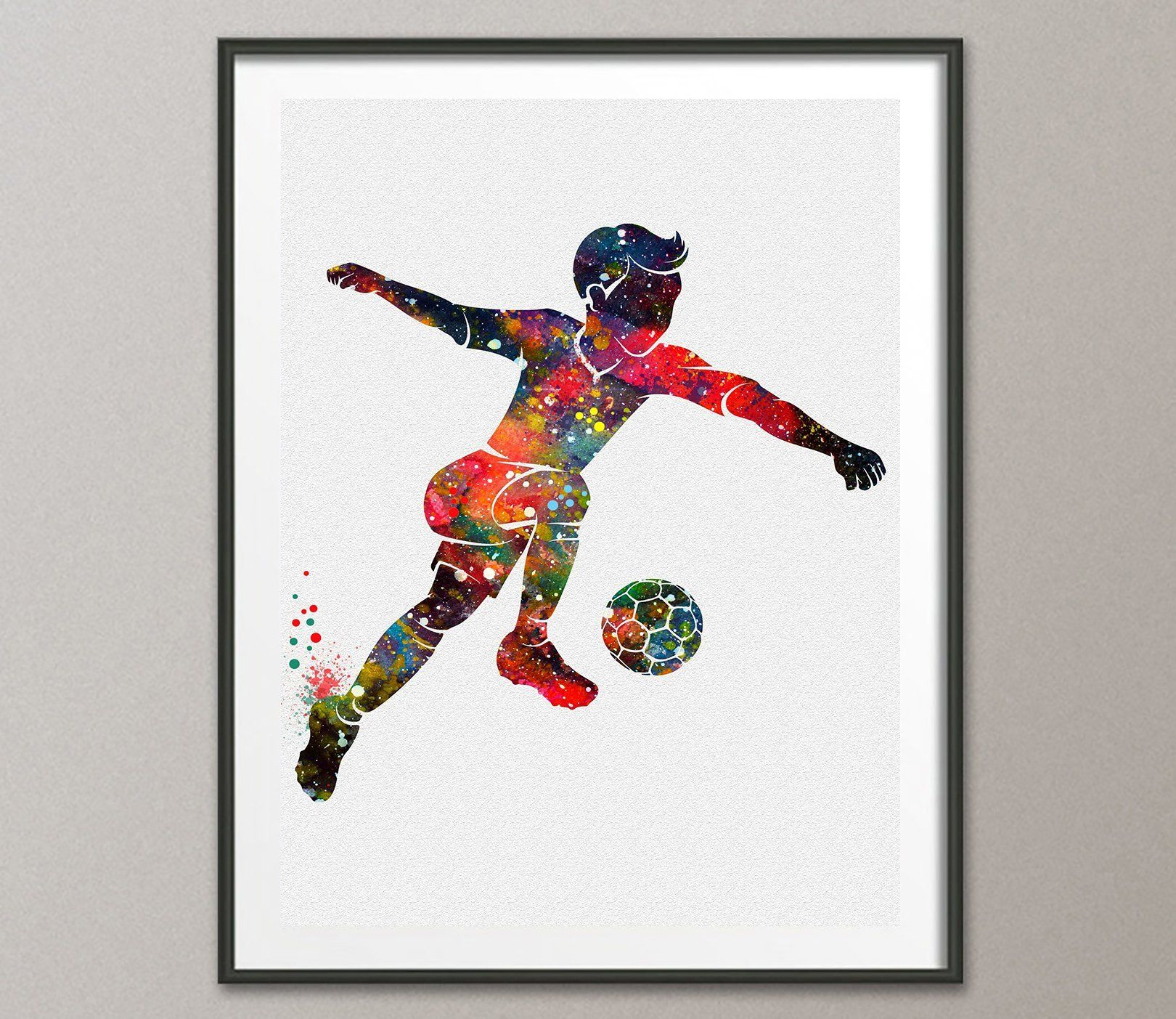 Soccer Wall Decor soccer football player watercolor poster art prints wall decor