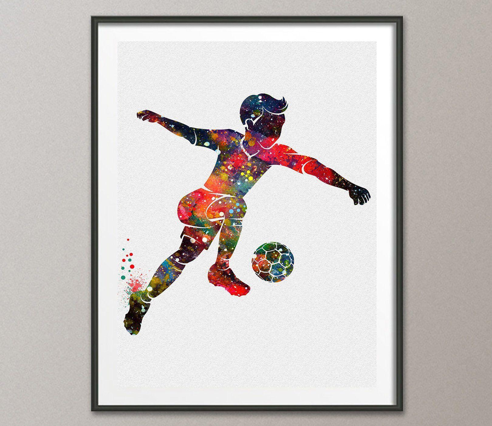 Soccer Wall Decor soccer football player watercolor poster art prints wall decor