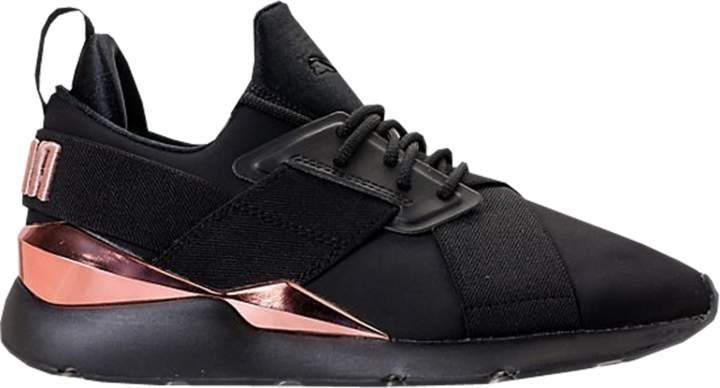 Puma Muse Metal Black Rose Gold (W) | Black shoes, Womens