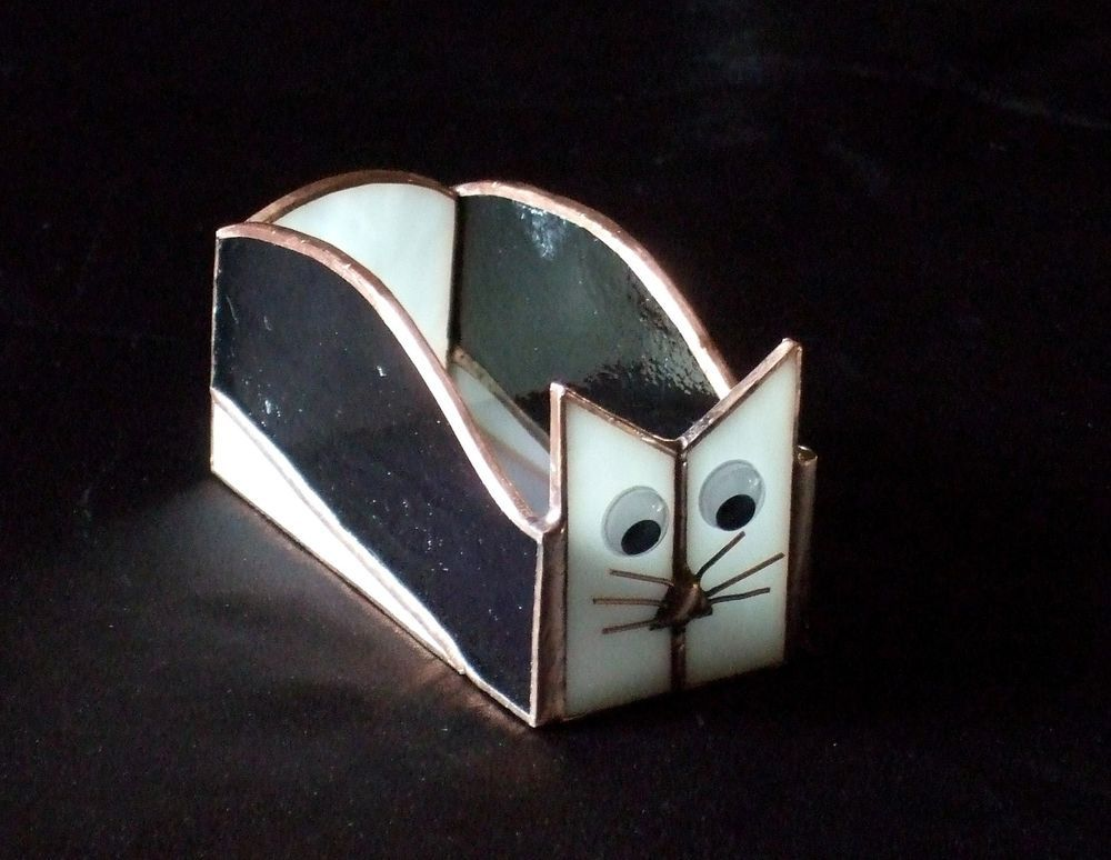 Handmade Stained Glass BOX (Business Card Holder) CAT (BXC33 ...