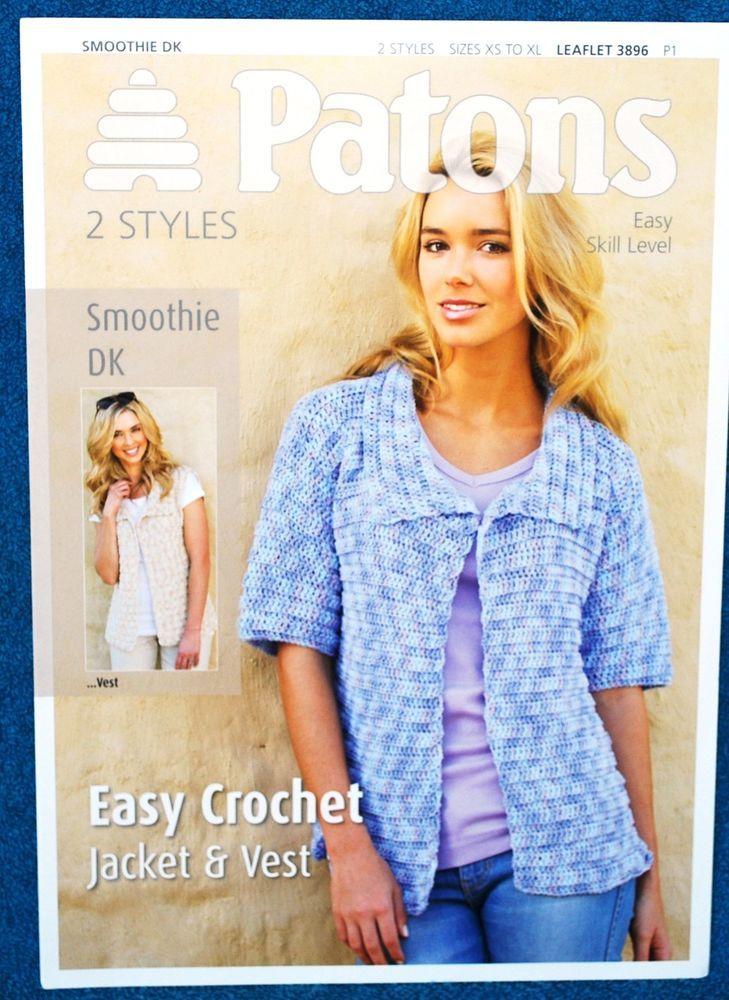 Ladies Double Knit Jacket Waistcoat Crochet Pattern 30 46 Inch