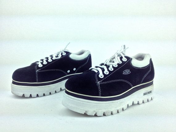 458c900d406 90s vintage Skechers sneakers with chunky platform wedge. Suede uppers with  contrasting white stitching and