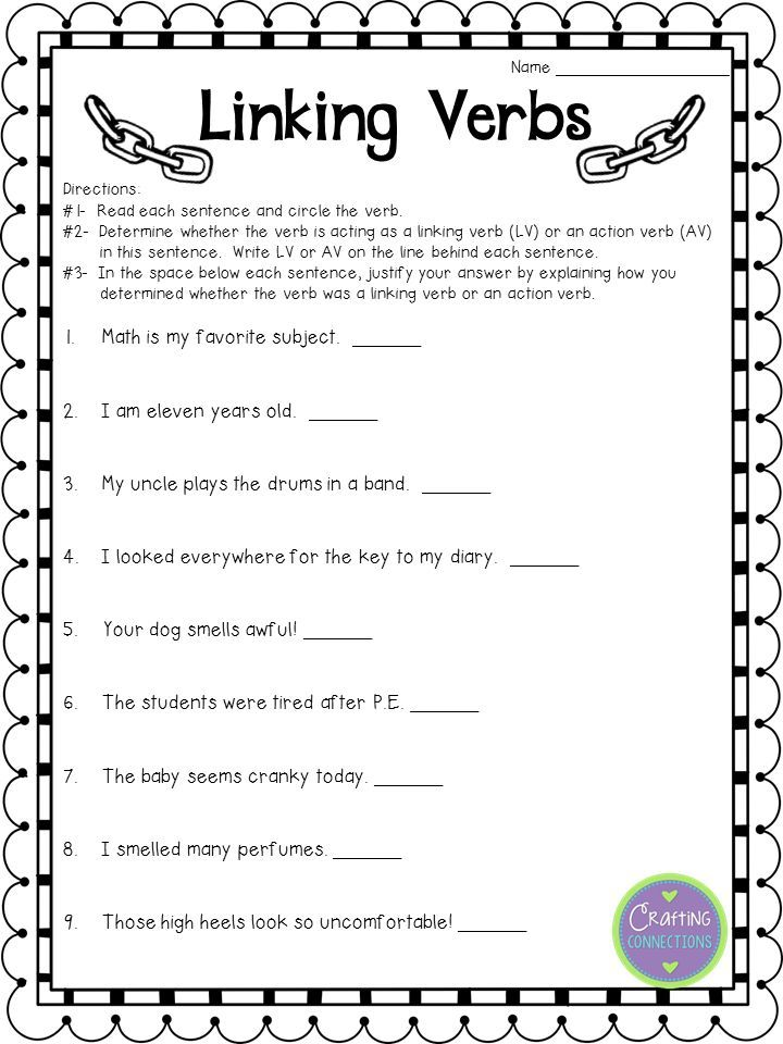 Linking Verbs worksheet FREE 5th Grade Common Core – Verb Worksheets 5th Grade