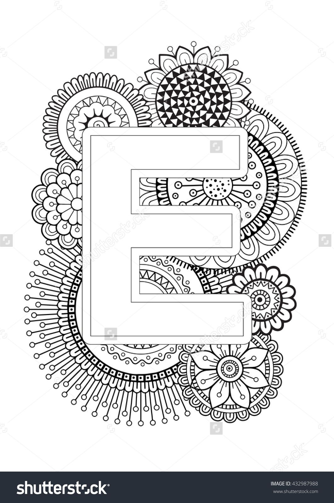 doodle floral letters coloring book for adult mandala and sunflower abc isolated vector. Black Bedroom Furniture Sets. Home Design Ideas
