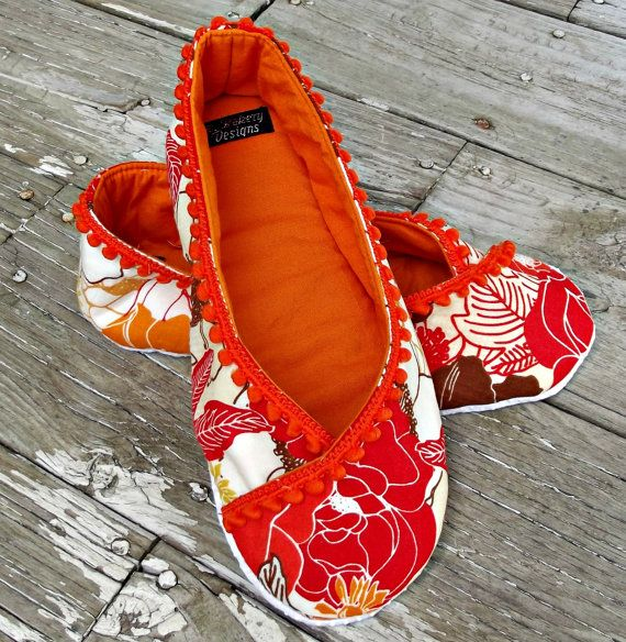 fabric slipper orange red floral ballet flat slippers kimono